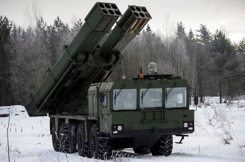 The Uragan-M1 MRL can mount 12 300-mm or 15 220-mm tubes