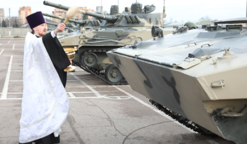 ROC priest blesses new BMD-4M delivered in January